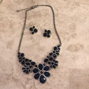 Cute navy blue necklace and earrings